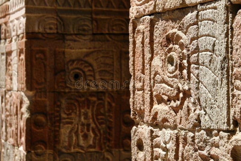 De muur van het ?paleis van de Vlinder van Quetzal?, Mexico royalty-vrije stock fotografie