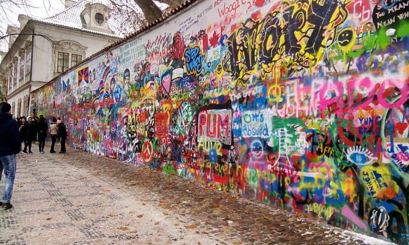 De muur van John Lennon s royalty-vrije stock afbeeldingen