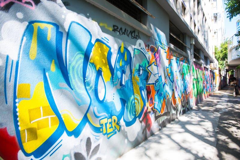De muur van de Mongkokgraffiti van bekendheid wordt gevestigd niet verre van Argyle-streptokok royalty-vrije stock fotografie