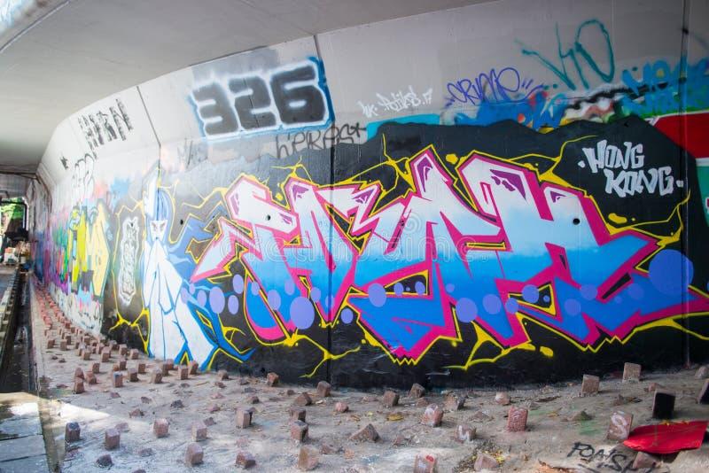 De muur van de Mongkokgraffiti van bekendheid wordt gevestigd niet verre van Argyle-streptokok stock fotografie
