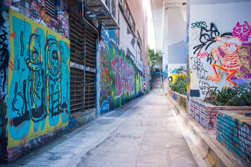 De muur van de Mongkokgraffiti van bekendheid wordt gevestigd niet verre van Argyle-streptokok stock foto's