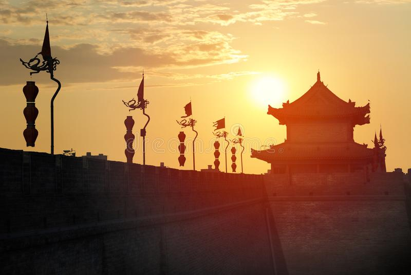 De muur van de stad van xian stock foto's
