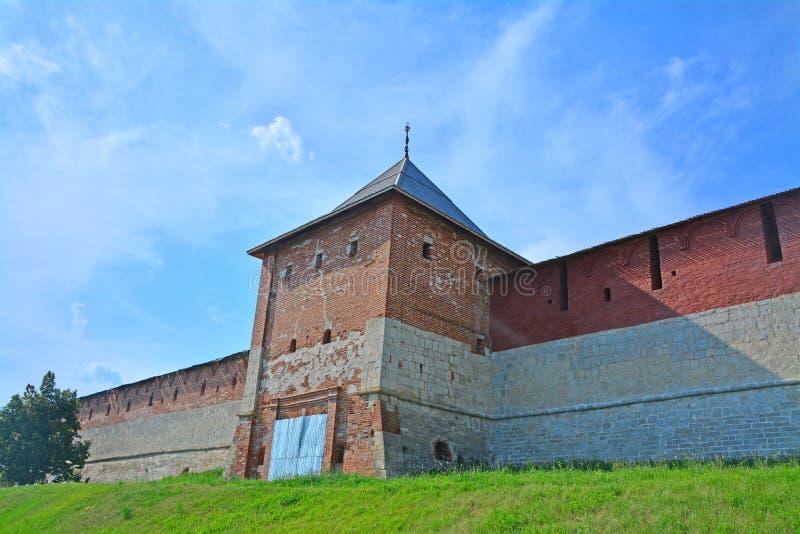 De muur van Zaraysk het Kremlin met Spasskaya-Poorttoren stock foto's