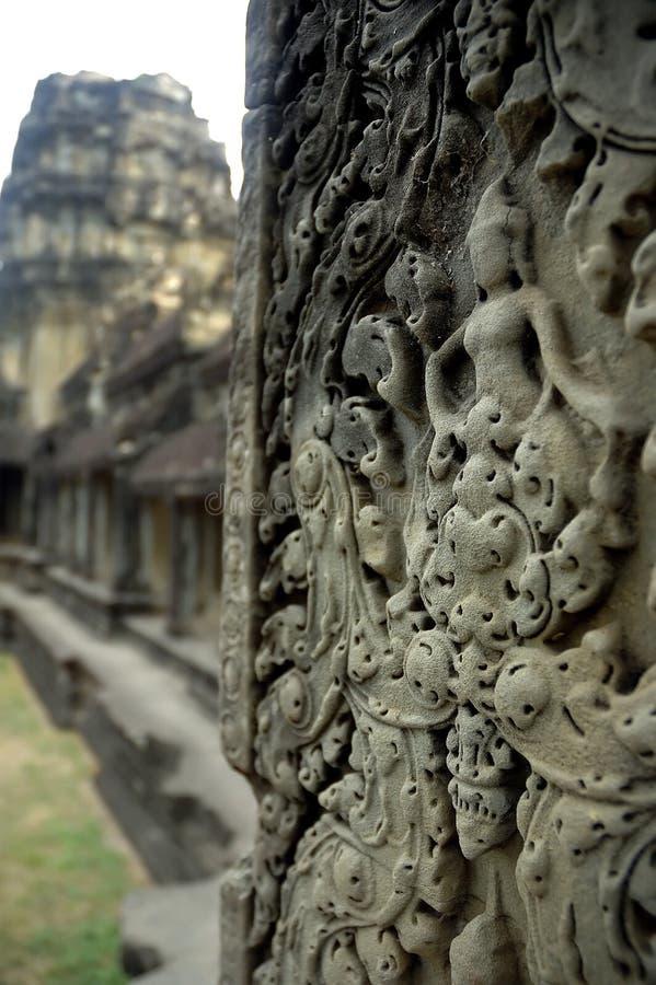 De muurgravures van ANG Kor Wat stock foto's