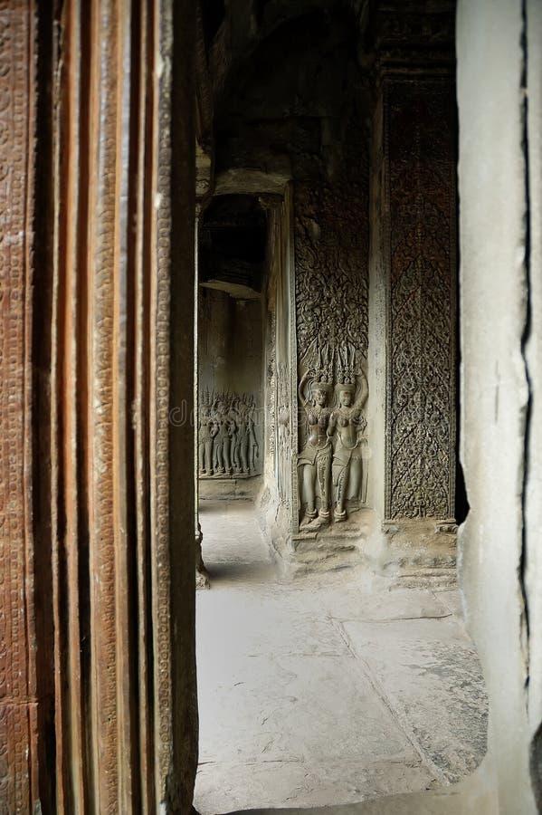 De muurgravures van ANG Kor Wat royalty-vrije stock afbeelding