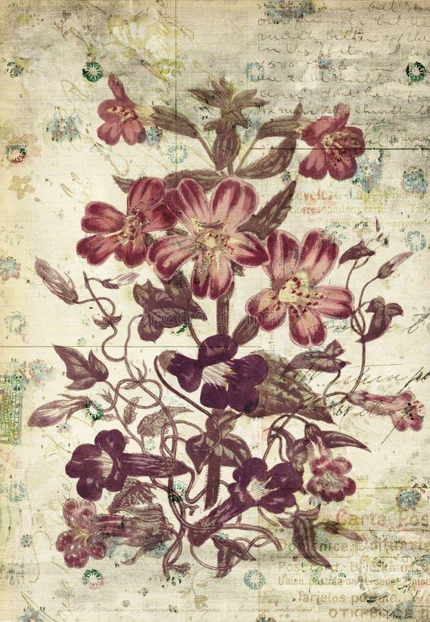 De Muurkunst van de bloemen Botanische Uitstekende Stijl met Geweven Achtergrond vector illustratie