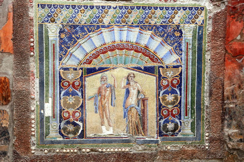 De muurmozaïek van Neptunus en Salacia-in Herculaneum, Italië royalty-vrije stock afbeelding