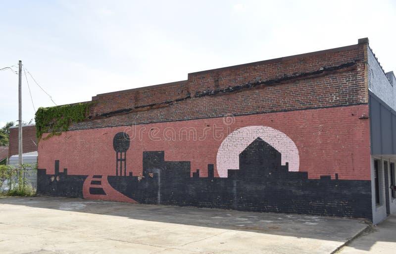 De Muurmuurschildering van de Coldwatermississippi Schilderen het Van de binnenstad stock afbeelding