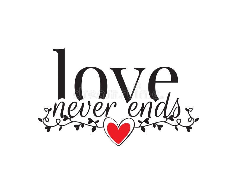De muuroverdrukplaatjes, Liefde beëindigt nooit, Verwoordend Ontwerp, Liefdecitaten, Van letters voorzien geïsoleerd op witte ach vector illustratie