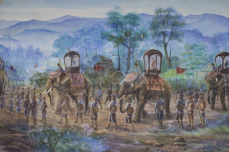 De Muurschilderijen van het slagveld stock afbeeldingen
