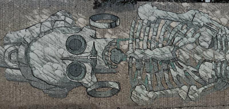 De muurschildering van Diade los muertos royalty-vrije illustratie