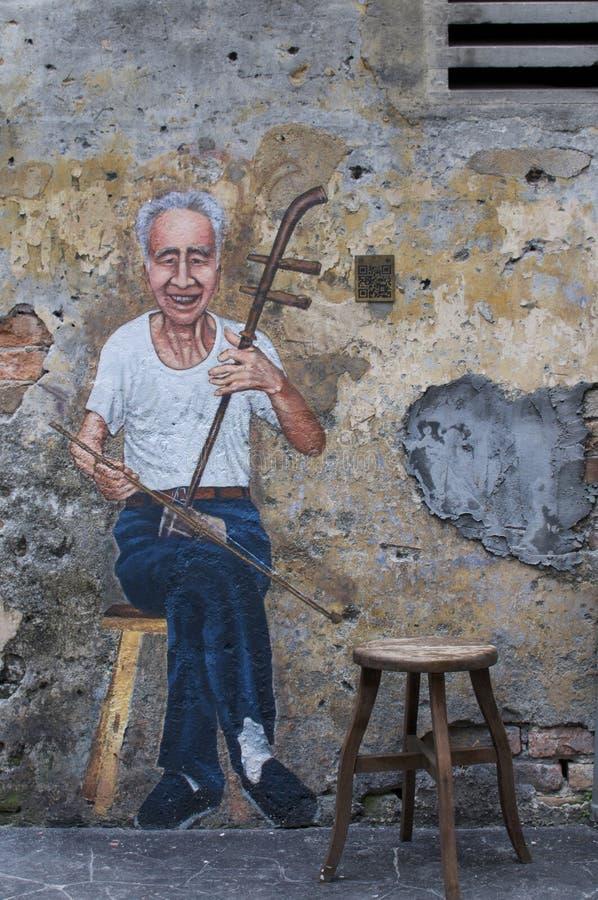 De muurschildering van de Erhuspeler van Kwai Chai Hong royalty-vrije stock fotografie