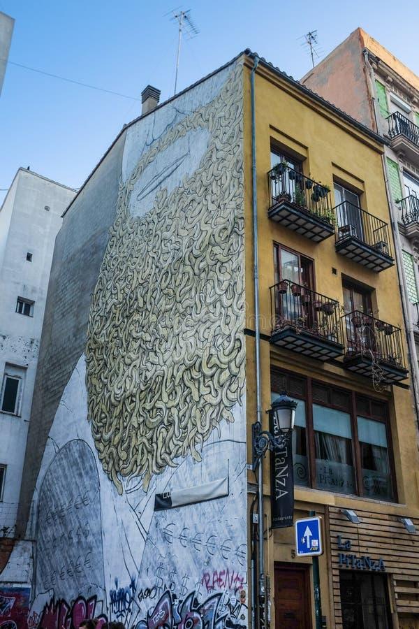 De muurschildering van Mozes in Carmen-buurt in Valencia, Spanje stock foto's