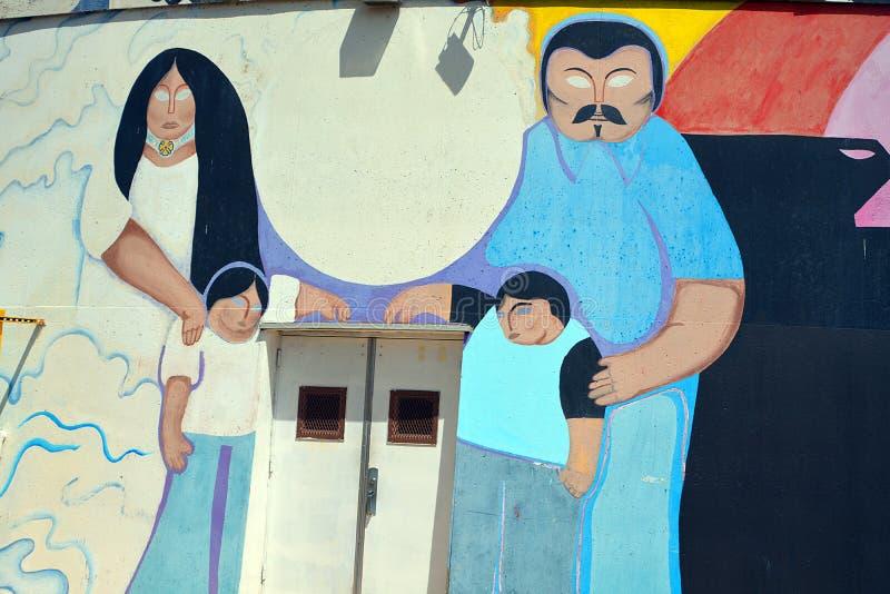 De muurschildering vertelt het verhaal van de mensen van Mexicanen Amerikanen royalty-vrije stock afbeelding