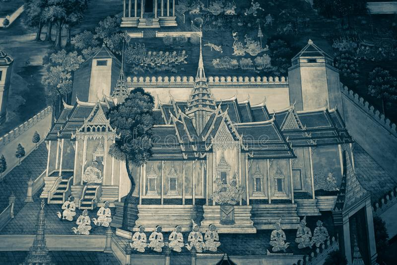 De de muurschilderingschilderijen van Ramakian Ramayana zijn zwart-witte kleur ge?soleerde muur langs de galerijen van de Tempel  royalty-vrije stock foto