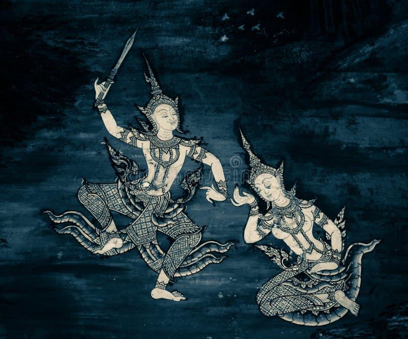 De de muurschilderingschilderijen van Ramakian Ramayana zijn zwart-witte kleur ge?soleerde muur langs de galerijen van de Tempel  royalty-vrije stock fotografie