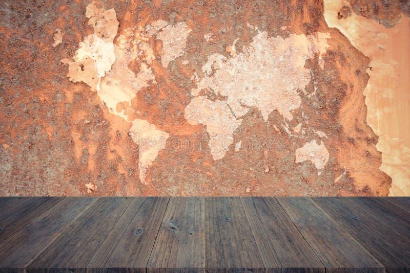 De muurtextuur van de metaalroest, proces in uitstekende stijl met hout ter royalty-vrije stock fotografie