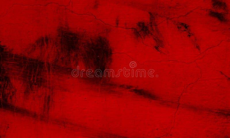 De muurtextuur van de Grunge rode en zwarte kwaststreek van concrete vloerachtergrond voor verwezenlijkingssamenvatting stock fotografie