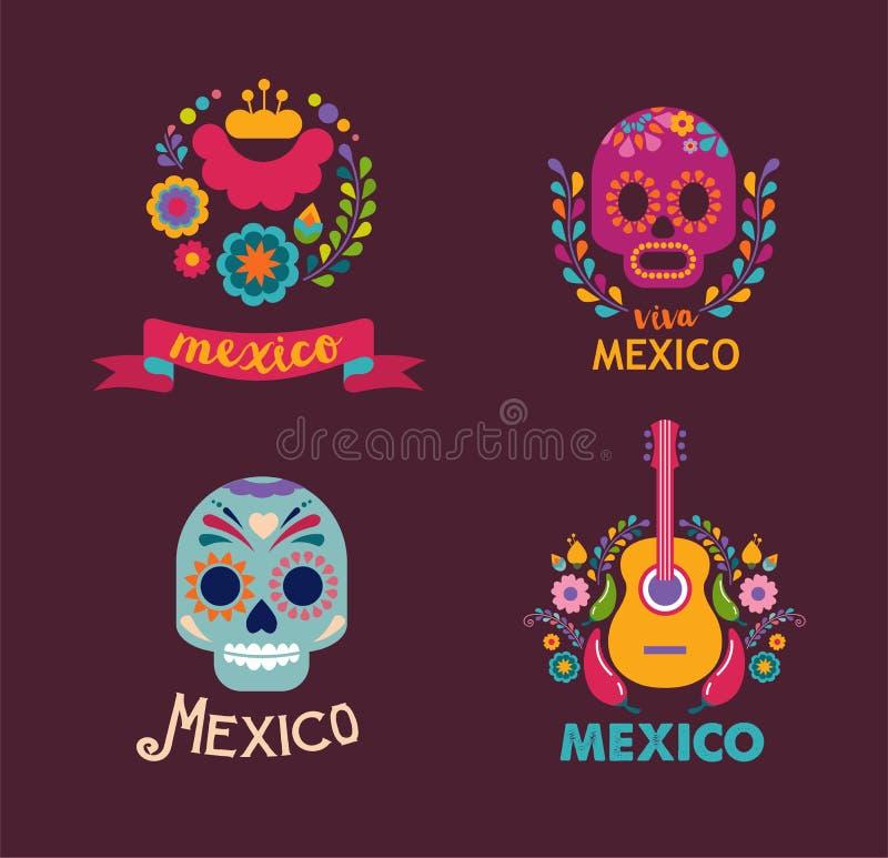 De muziek, de schedel en het voedselelementen van Mexico vector illustratie