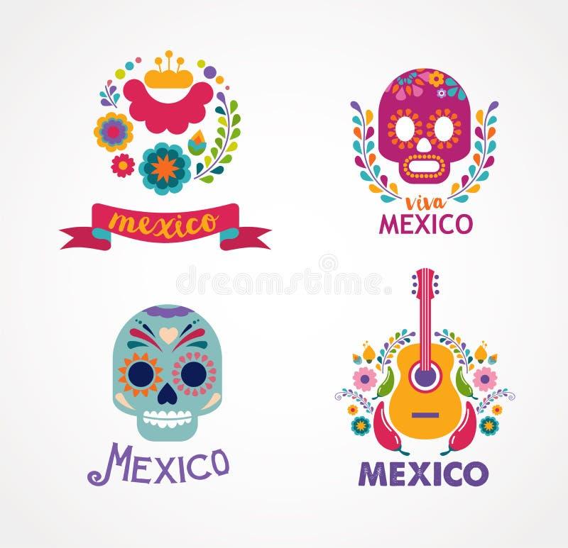 De muziek, de schedel en het voedselelementen van Mexico stock illustratie