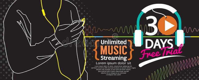 30 de Muziek die van de dagen Vrije Proef 1500x600-Banner stromen stock illustratie