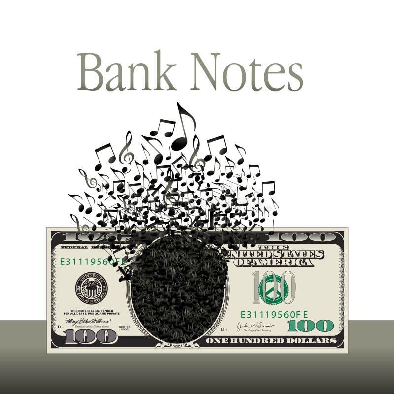 De muziek en het geld zijn het thema van grafisch dit royalty-vrije illustratie