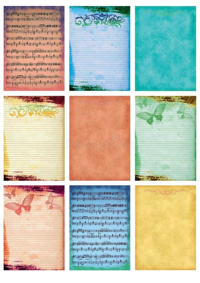 De muziek en de oude document achtergrond uitstekende collagereeks van de muziek van negen kaartenmarkeringen nemen nota oude ant stock illustratie