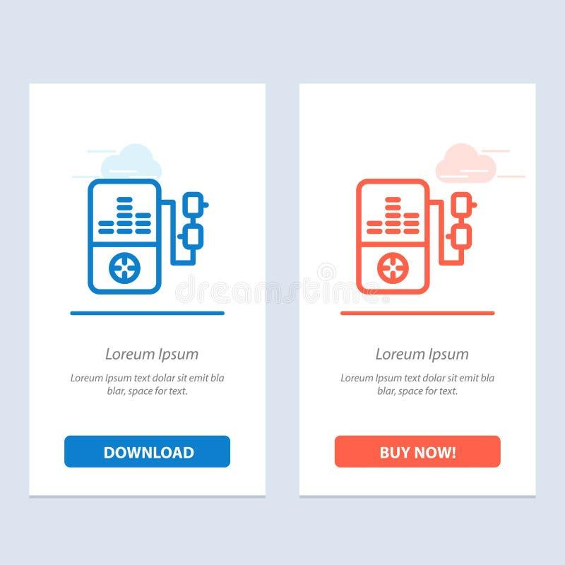 De muziek, Mp3, het Spel, de Onderwijs Blauwe en Rode Download en kopen nu de Kaartmalplaatje van Webwidget stock illustratie