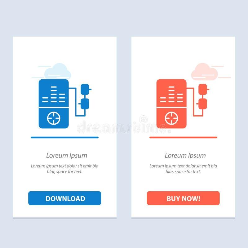 De muziek, Mp3, het Spel, de Onderwijs Blauwe en Rode Download en kopen nu de Kaartmalplaatje van Webwidget royalty-vrije illustratie