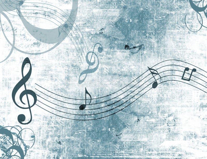 De muziek neemt nota grunge van achtergrond royalty-vrije illustratie
