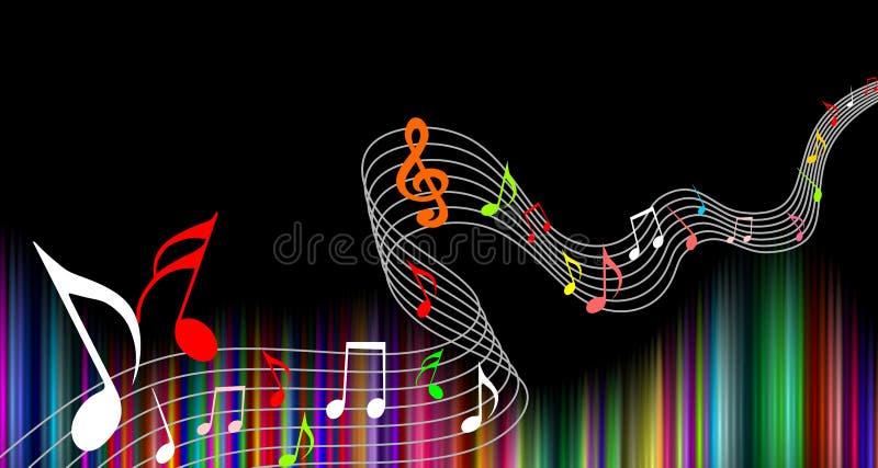 De muziek neemt nota multicolored van achtergrond Vector illustratie stock illustratie
