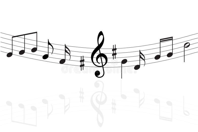 De muziek neemt nota van achtergrond vector illustratie