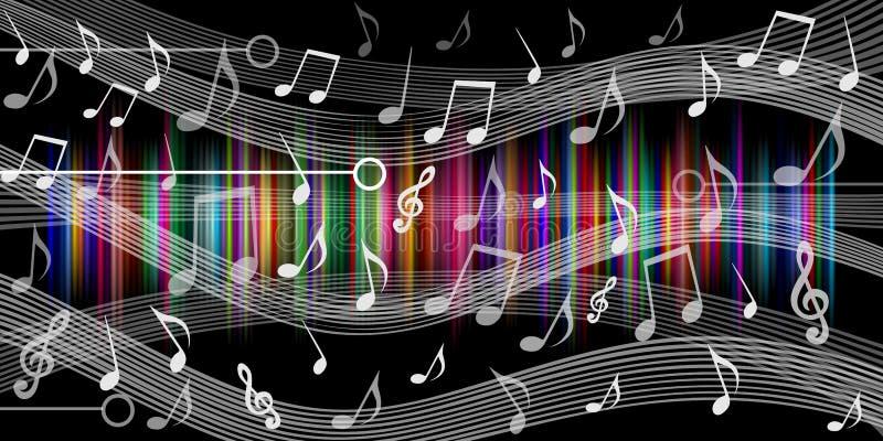 De muziek neemt nota van achtergrondzwarte Vector illustratie stock illustratie