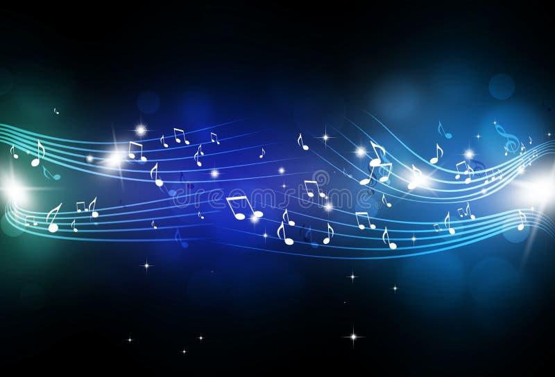 De muziek neemt nota van Blauwe Achtergrond royalty-vrije illustratie