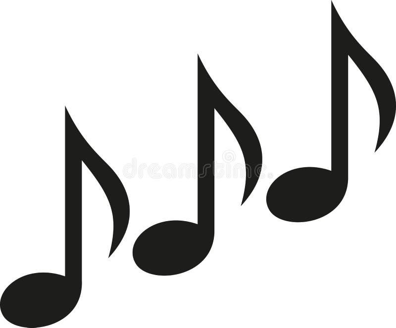 De muziek neemt nota van drievoud stock illustratie