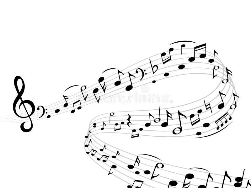 De muziek neemt nota van golf De abstracte van de g-sleutelsilhouetten van de wervelingsmuzieknoot van de de harmoniestaaf vector stock illustratie