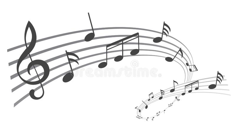 De muziek neemt nota van golf, zwarte groepsmuzieknoten - vector royalty-vrije illustratie