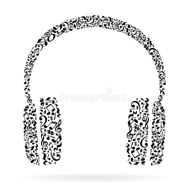De muziek neemt nota van hoofdtelefoons vector illustratie