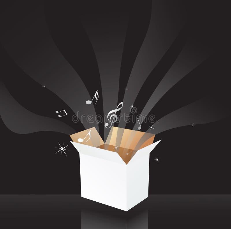 De muziek neemt nota van magische doos vector illustratie