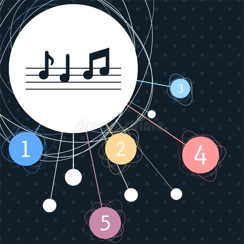 De muziek neemt nota van pictogram met de achtergrond aan het punt en met infographic stijl stock illustratie