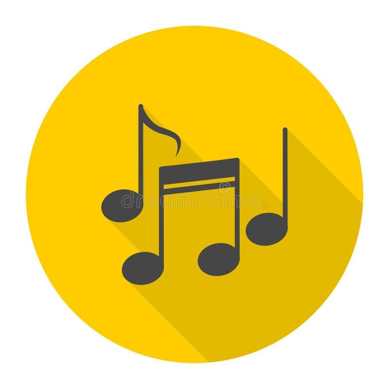 De muziek neemt nota van pictogram met lange schaduw stock illustratie