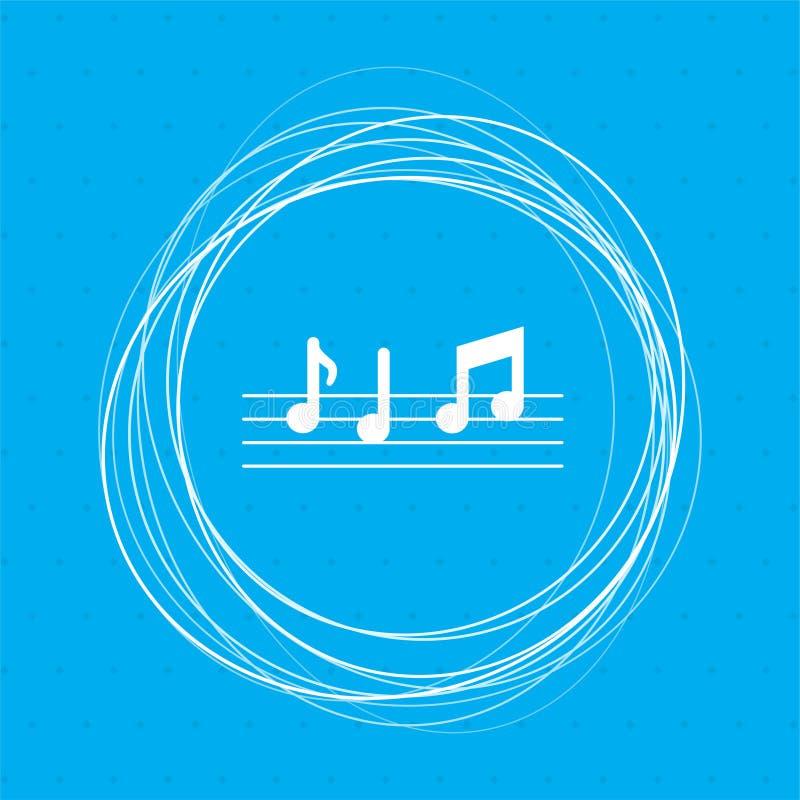 De muziek neemt nota van pictogram op een blauwe achtergrond met abstracte cirkels rond en plaats voor uw tekst vector illustratie