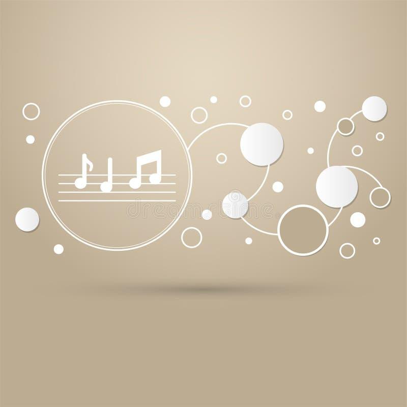 De muziek neemt nota van pictogram op een bruine achtergrond met elegante infographic stijl en modern ontwerp vector illustratie