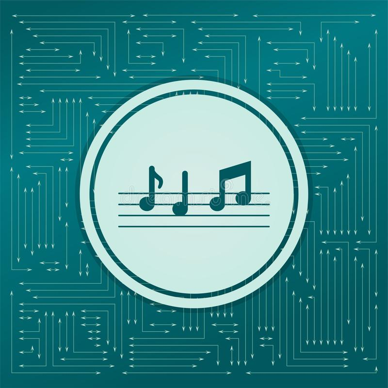 De muziek neemt nota van pictogram op een groene achtergrond, met pijlen in verschillende richtingen Het verschijnt op de elektro royalty-vrije illustratie