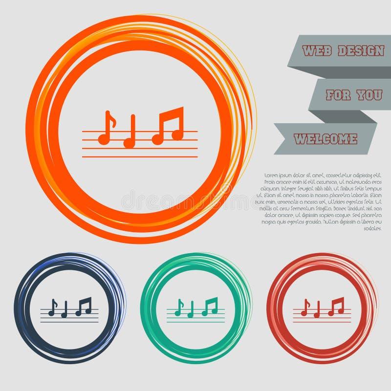 De muziek neemt nota van pictogram op de rode, blauwe, groene, oranje knopen voor uw website en ontwerp met ruimteteksten royalty-vrije illustratie