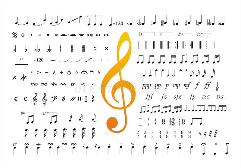 De muziek neemt nota van symbolen 2 stock illustratie