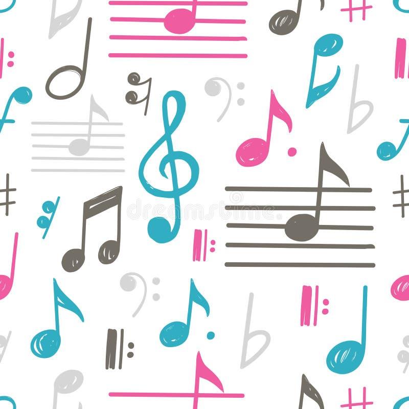 De muziek neemt nota van vector naadloos patroon royalty-vrije illustratie