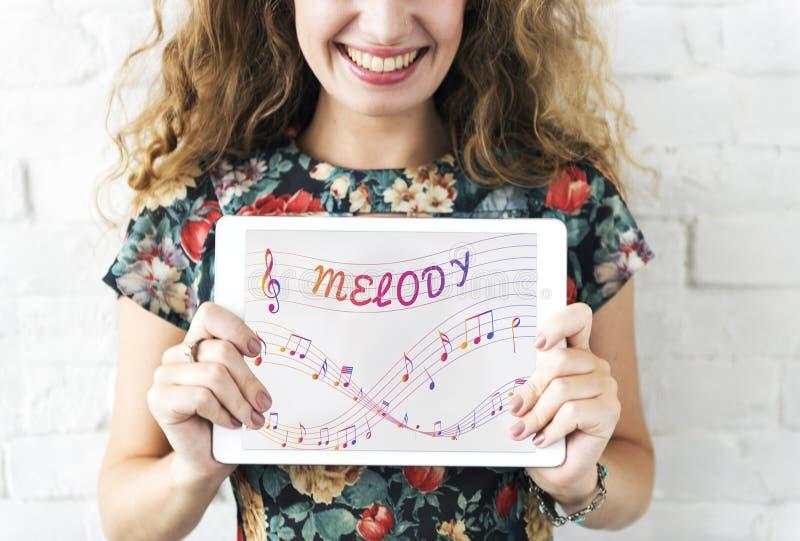 De muziek neemt nota van Vermaak Melody Listening Concept stock foto
