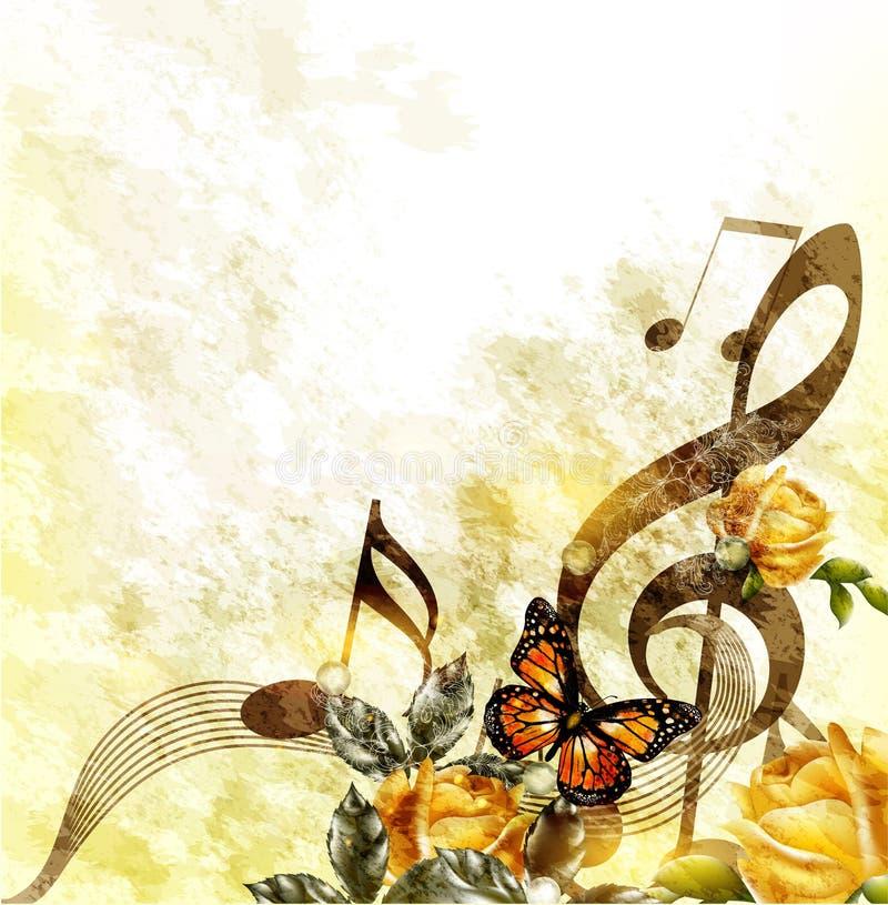 De muziek romantische achtergrond van Grunge met nota's en rozen royalty-vrije stock afbeeldingen