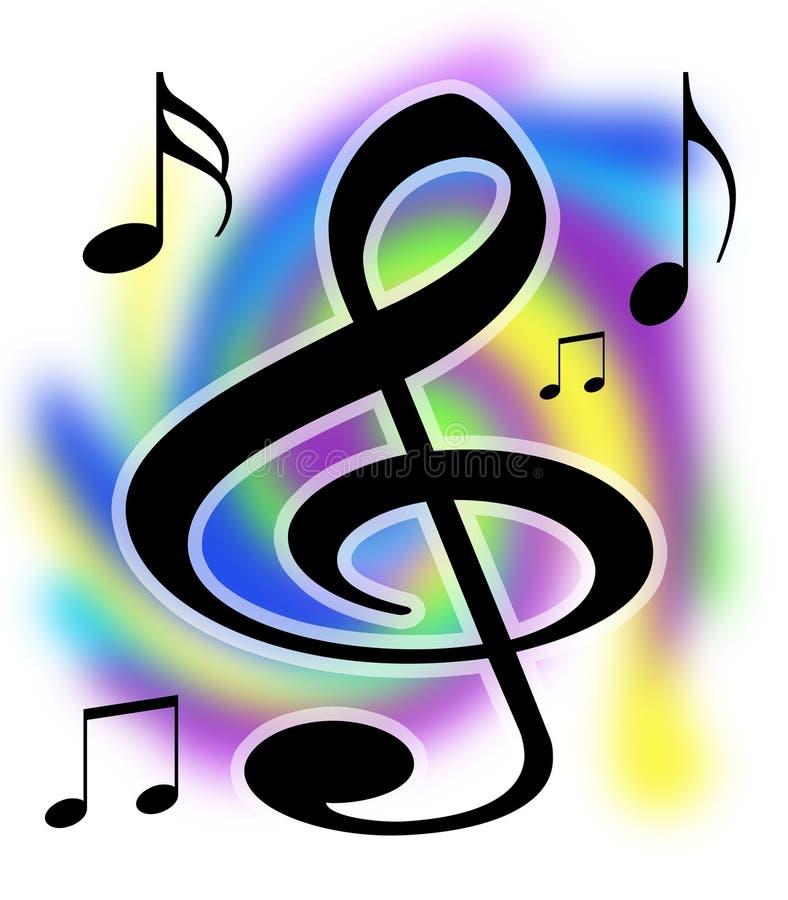 De Muziek van de g-sleutel neemt nota van Illustratie royalty-vrije illustratie